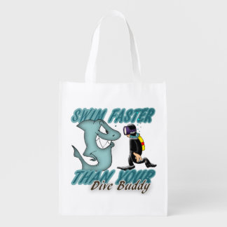 Scuba Dive Buddy Fun Design With Shark And Diver