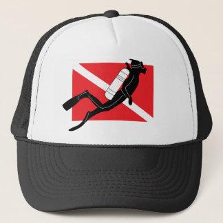 SCUBA Dive Flag With Male SCUBA Diver Trucker Hat