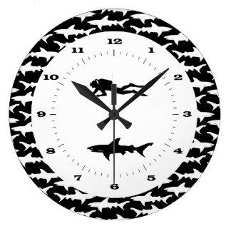 Scuba Diver and School of Sharks Danger Zone Clock