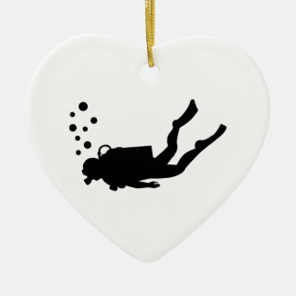 Scuba diver bubbles ceramic heart decoration