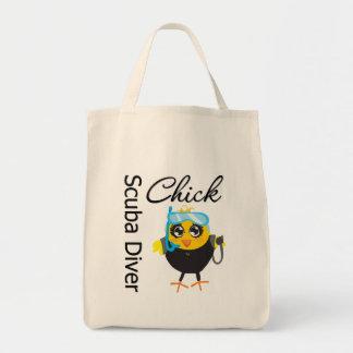 Scuba Diver Chick Grocery Tote Bag