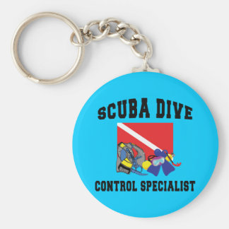 SCUBA Diver Control Specialist Basic Round Button Key Ring