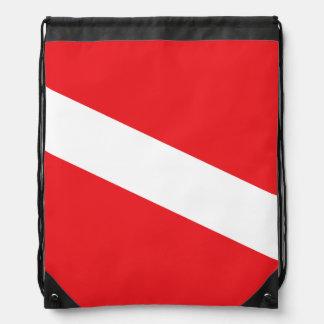 Scuba Diver Dive Flag Drawstring Bag Cinch Bags