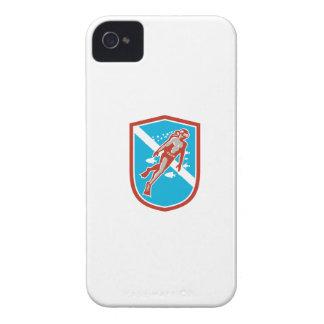 Scuba Diver Diving Going Up Shield Retro iPhone 4 Case-Mate Case