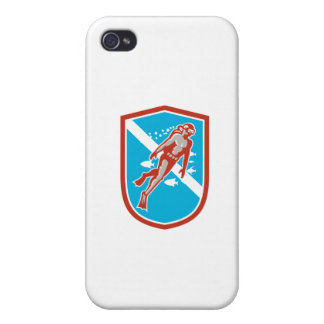 Scuba Diver Diving Going Up Shield Retro iPhone 4/4S Cover