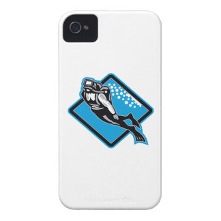 Scuba Diver Diving Retro iPhone 4 Case-Mate Cases