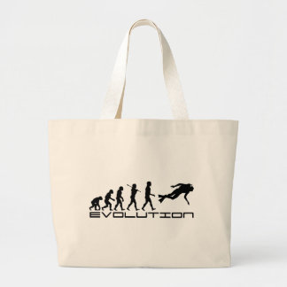 Scuba Diver Diving Water Sport Evolution Art Large Tote Bag