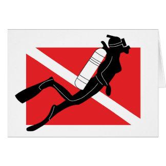SCUBA Diver Down Flag With Female Diver Card