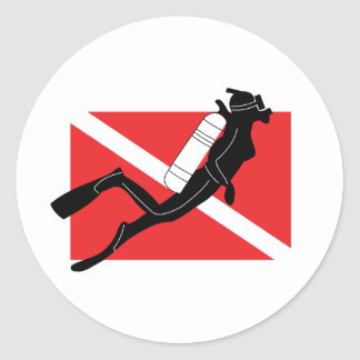 SCUBA Diver Down Flag With Female Diver Classic Round Sticker