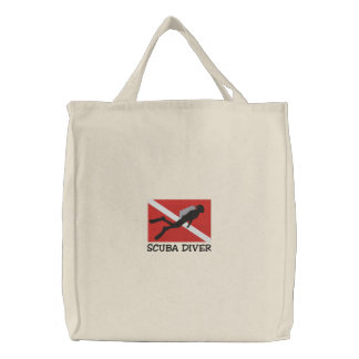 SCUBA Diver Embroidered Bag Embroidered Tote Bags