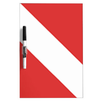 SCUBA DIVER HELMET RED WHITE DIVERS FLAG GIFT DRY ERASE BOARD