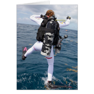 Scuba Diver Jump Greeting Card