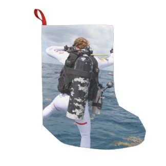 Scuba Diver Jump Small Christmas Stocking
