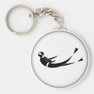 Scuba Diver Man Cartoon Keychain