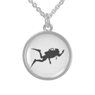 Scuba Diver Round Pendant Necklace