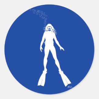 Scuba Diver Silhouette Woman Round Sticker