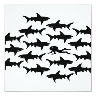 Scuba Diver Swimming with a School of Sharks 13 Cm X 13 Cm Square Invitation Card