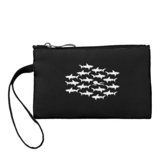 Scuba Diver Swimming with a School of Sharks Coin Purses