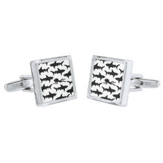 Scuba Diver Swimming with a School of Sharks Silver Finish Cuff Links