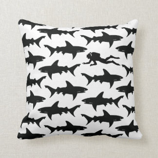 Scuba Diver Swimming with School of Sharks Cushion
