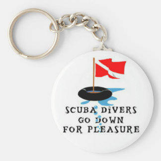 Scuba Divers Go Down For Pleasure Key Ring