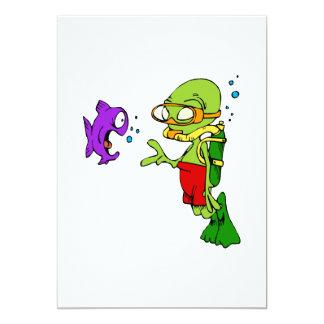 Scuba Diving Alien 13 Cm X 18 Cm Invitation Card