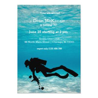 Scuba diving birthday party 13 cm x 18 cm invitation card