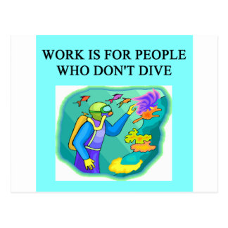 scuba diving design postcard