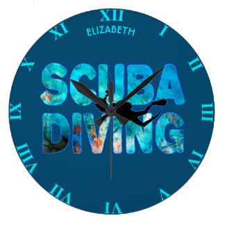 Scuba Diving Diver With Diving Suit And Swim Fins Clock