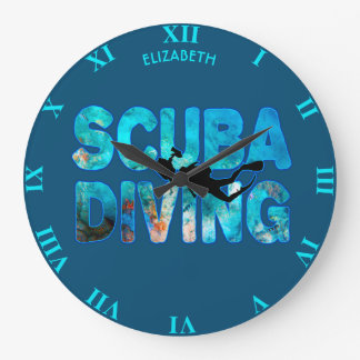 Scuba Diving Diver With Diving Suit And Swim Fins Large Clock