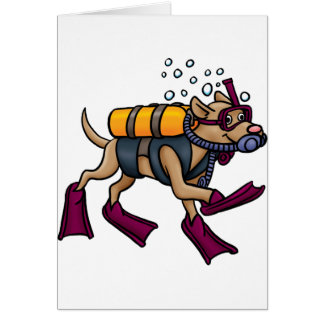 Scuba Diving Dog Greeting Cards