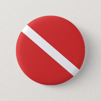 Scuba Diving Flag - Divers Emblem Red White 6 Cm Round Badge