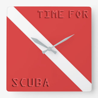 SCUBA DIVING FLAG WALL CLOCK, RED DIVERS FLAG GIFT SQUARE WALL CLOCK