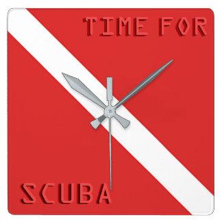 SCUBA DIVING FLAG WALL CLOCK, RED DIVERS FLAG GIFT WALL CLOCK