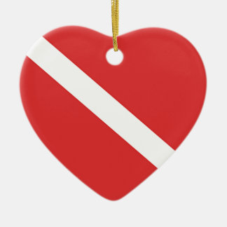 Scuba Diving Logo- Diver's Red White Flag Ceramic Heart Decoration