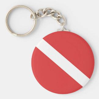 Scuba Diving Logo- Diver's Red White Flag Key Ring