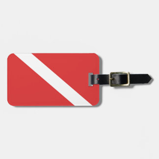 Scuba Diving Logo- Diver's Red White Flag Luggage Tag