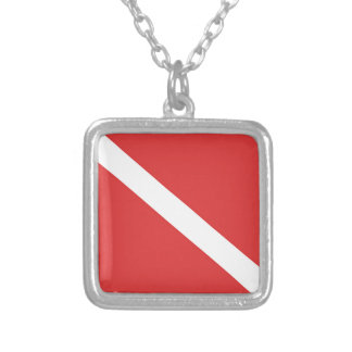 Scuba Diving Logo- Diver's Red White Flag Silver Plated Necklace