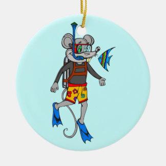 Scuba Diving Mouse Round Ceramic Decoration