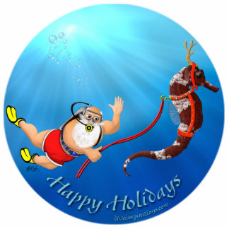 Scuba Diving Santa & Seahorse Ornament Photo Sculpture Decoration