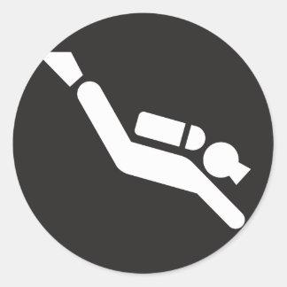 Scuba Diving Sign Round Sticker