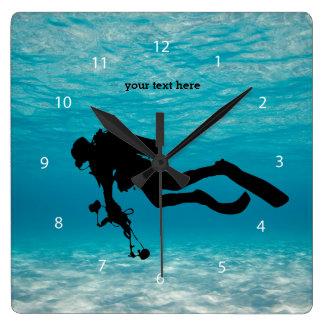 Scuba Diving Square Wall Clock
