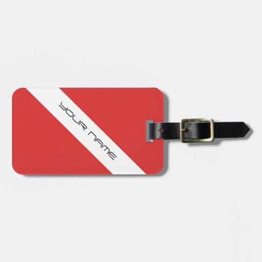Scuba Diving Symbol- Flag Divers Emblem Red White Tag For Bags