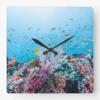 Scuba Diving With Colorful Reef And Coral Square Wall Clock