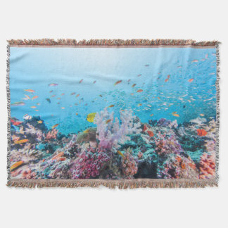 Scuba Diving With Colorful Reef And Coral Throw Blanket