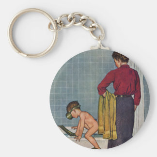 Scuba in the Tub Basic Round Button Key Ring