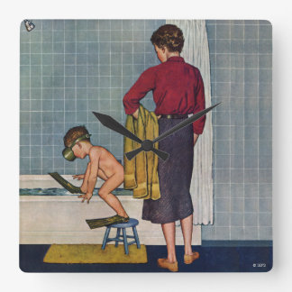 Scuba in the Tub Wallclocks