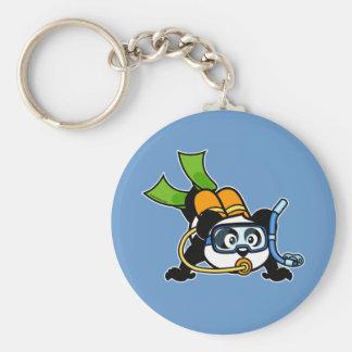 Scuba Panda Basic Round Button Key Ring