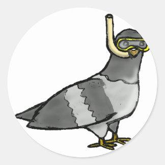 Scuba Pigeon Round Sticker