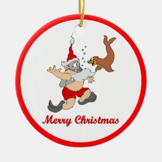 Scuba Santa Christmas Ornament